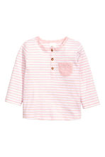 Long-sleeved top with buttons - Light pink/White striped - Kids | H&M 1